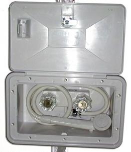 Auxiliary shower mixer with door