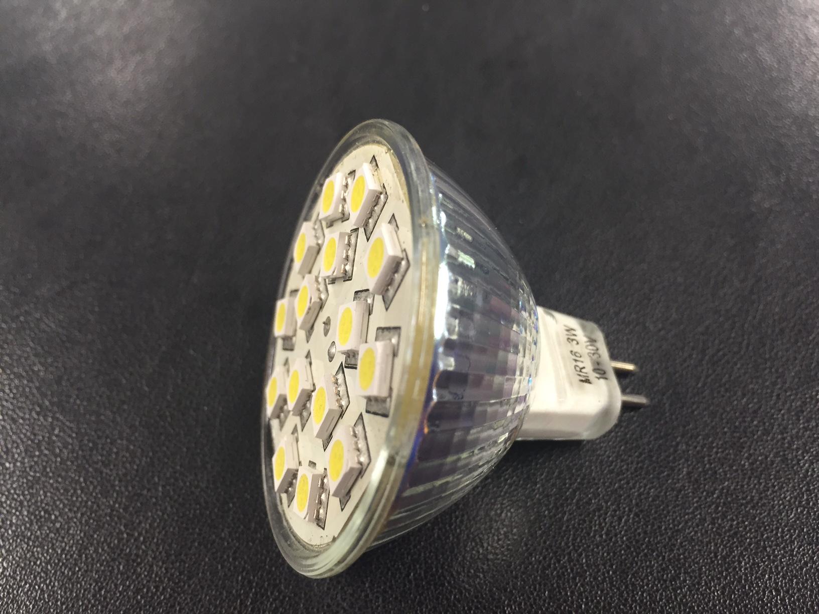 LED Globe CW MR16 3W 12/24v no lens